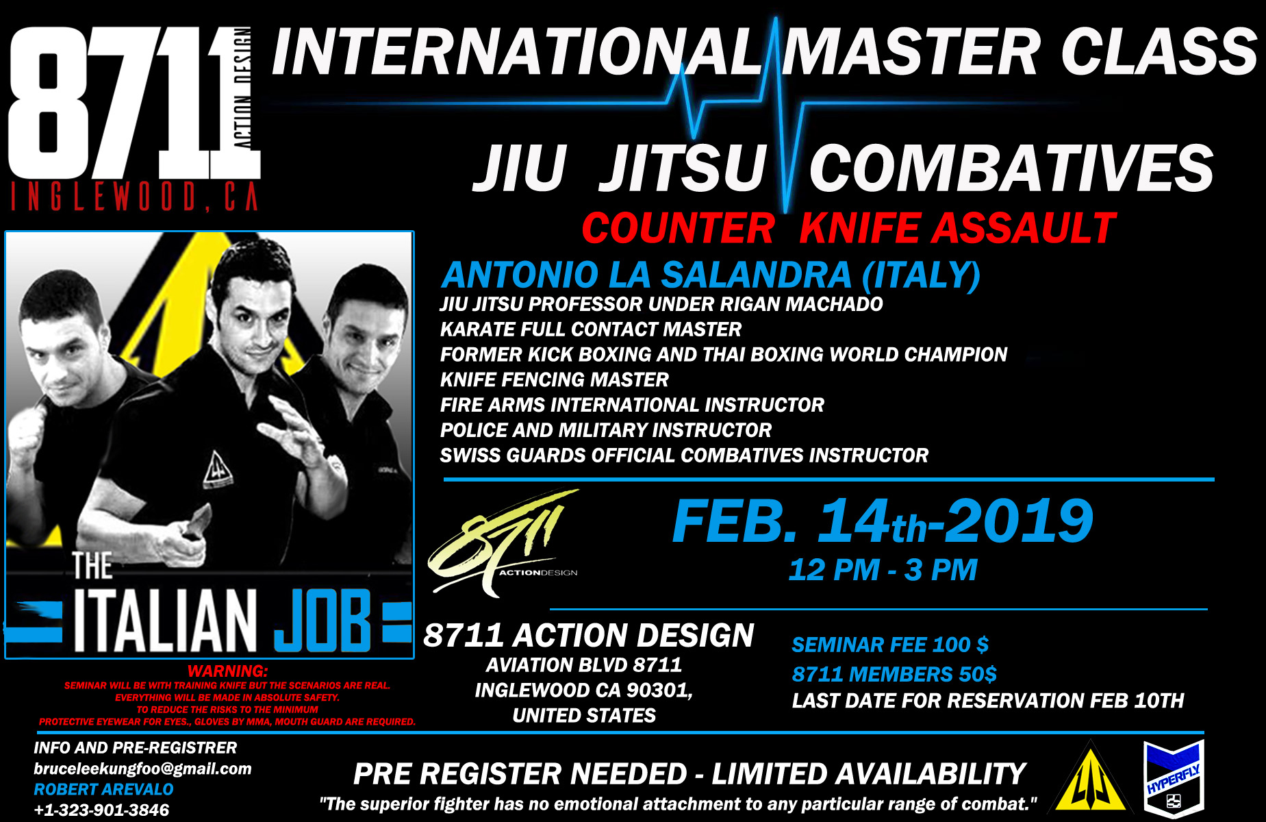INTERNATIONAL MASTER CLASS BY WORLD RENOWNED  BLACK BELT Master Antonio la Salandra