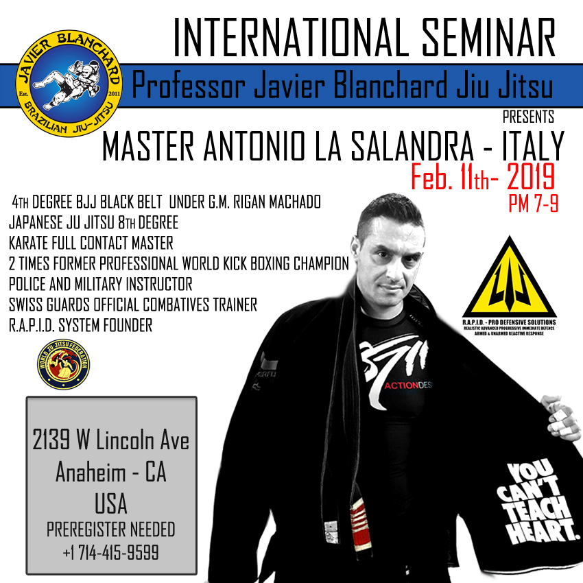 INTERNATIONAL MASTER CLASS BY WORLD RENOWNED BJJ BLACK BELT Master Antonio la Salandra